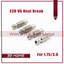 E3D V6 HeatBreak Hotend Throat For 1.75mm/3.0mm Filament All-Metal / With PTFE M6 M7 Stainless Steel Remote Feeding Tube