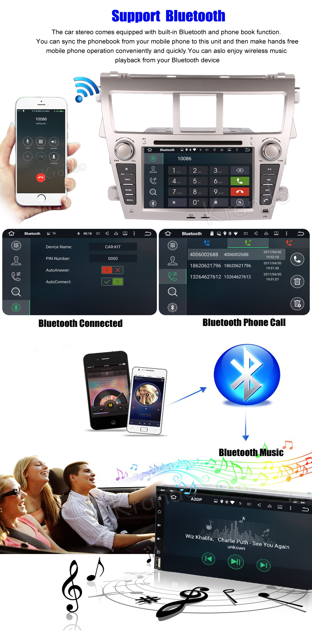 Krando android car radio stereo navigation gps for toyota vios 2007-2013 car dvd player multimedia system (3)