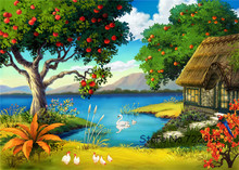 Apple Tree Cute Goose Pastoral Scenery Waterproof ink Canvas Rectangle Unframe Paintings Home Sofa Child Room Wall Decor