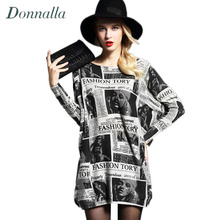 Women Sweaters Autumn Newest Newspaper Printing Women's Pullover Long Sweater Dress Loose Soft Thin Sweater