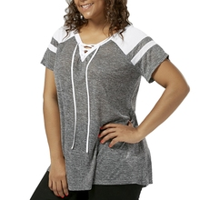 CharMma Women Plus Size Lace Up T-Shirt Raglan Short Sleeve V-Neck Female Casual Tees Tops Women Basic Tops Large Size XL-5XL