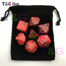 Top Quality 7pcs Mix color Magic Red Digital Dice Set with Nebula effect D4,6,8,10,12,20 game Dices dungeons & dragons(China)