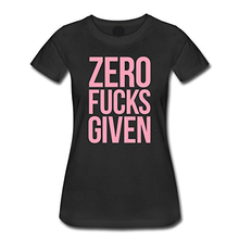 Casual T Shirts Graphic Women Zero Fucks Given O-Neck Short-Sleeve Tees High Quality Custom Printed Tops Hipster Tees