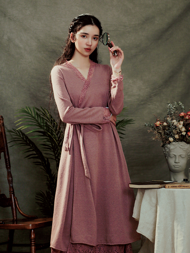 LYNETTE'S CHINOISERIE Spring Autumn Original Design Women Elegant French Vintage Slim High Waist Lace Patchwork Knitted Dresses