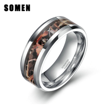 Fashion 8MM Men Tungsten Carbide Camo Ring Wedding Engagement Band Fall Hay Camouflage Inlay Rings(China)