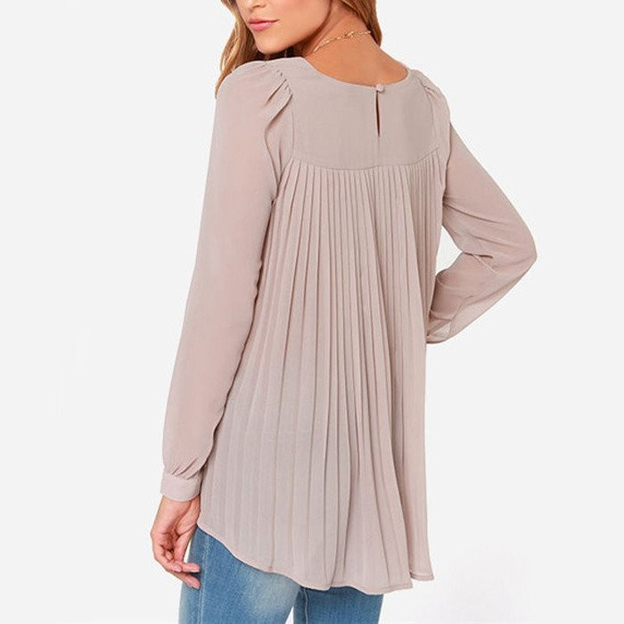 HANYSEN Hot Sale Womens Casual Blouses Female O-Neck Long Sleeve Chiffon Shirts Plus Size 5XL Women Solid Color Loose Blouse