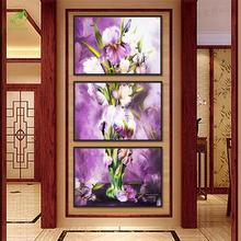 Modern 3pcs Melamine Sponge Board Canvas Oil Painting Abstrast Pictures Frame Purple Flowers Room Wall Art Paint Home Decoration