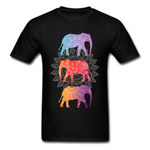 Floral Mandala T Shirt 2018 Men's Famous Fashion Brand Short Shirts Thai Elephant Day Printed On Round Collar Casual T-Shirt(China)