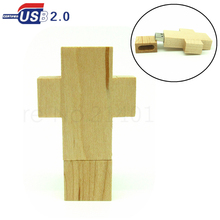 Wooden Cross USB Flash drive 4GB 16GB 8GB 32GB God Bless Jesus shines pen drive flash disk memory stick real capacity u disk(China)