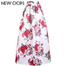 NEW OOPS New Tutu Maxi Skirt Fashion Vintage Pleated Printed Ball Gown Flared Women Muslim 100cm Long Skirt With Pocket 141209(China)