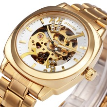 Royal WINNER Brand Unisex Auto Mechanical Wrist Watches Skeleton Dial Crystal Diamond Design Full Stainless Steel Golden Clock(China)