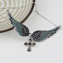 New Personality Trend Angel Wings Necklace Cross National Wind Ladies Necklace Birthday Gift Rhinestone Necklace