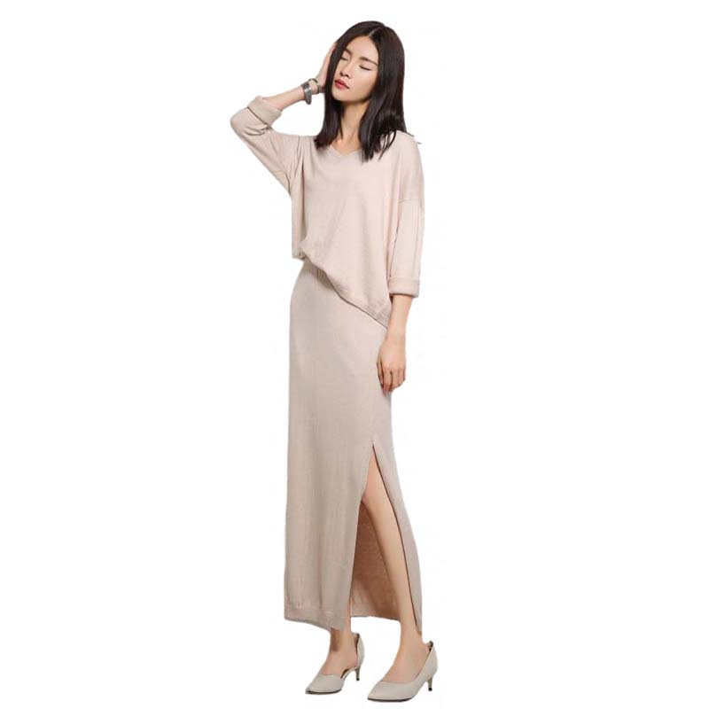 Cashmere Sweater Sets 2018 New Womens Knitting Skirts Loose