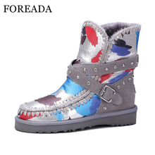 FOREADA Genuine Leather Waterproof Snow Boots Women Winter Ankle Boots Fur Plush Warm Boots Buckle Studded Shoes Platform Wedges(China)