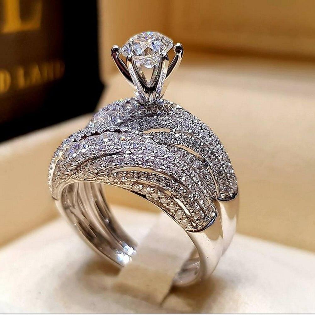 2pcs Luxury Round White Sapphire Wedding Ring Set 925 Silver Engagement Jewelry
