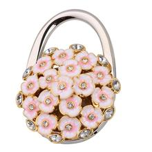 Portable 3D Folding Handbag Purse Table Hook Hanger Bag Holder Pink Flower