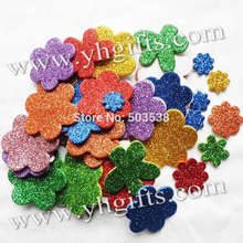 45PCS(1bag)/LOT,Glitter foam flower stickers,Spring crafts,Wall sticker,Kids room ornament.Decorative sticker.Kindergarten decor(China)