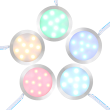 Amazing Tomshine Set of 4 Under Cabinet RGB Light Kit 9LEDs Puck Lamp IR Remote Control Multi-color Mood Lighting for Kitchen