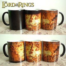 Free shipping!The lord of rings mugs cold hot Black heat changing color coffee map Tea Cup  Magic mug for best friend gift