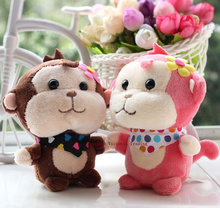 Super HOT NEW Stuffed Floral Monkey toy , 1X Random Color 10CM Plush Stuffed TOY , Sucker Pendant DOLL TOY Wedding Gift Bouquet