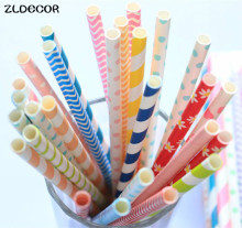 ZLDECOR 25pcs Straws Mixed Color Paper Drinking Paper Straws Party Decoration And Wedding Birthday Decoration Supplies