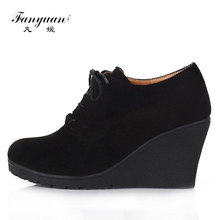 2017 New Wedges Women Boots Fashion Flock High-heeled Platform Ankle Boots Lace Up High Heels Spring Autumn Shoes For Women
