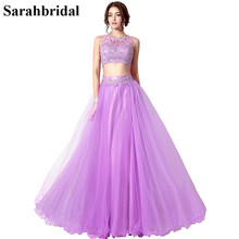 In Stock Long Sexy Two Pieces Prom Dresses 2017 Beaded Lavender Special Occasion Dresses Tulle Party Gown Real Picture SD205