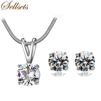 Sellsts New Arrival Snake Necklace Set Classic 4 Prongs Single White Cubic Zirconia Fashion Jewelry Sets Women Gift
