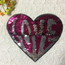 Girl clothes patch deal with it 19cm love heart up and down turn double sided sequins letter patches for clothing free shipping