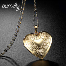 OUMEILY Heart Locket Necklace Women Jewelry Gift For Lover's Silver/Gold Color Romantic Fancy Pendant For Women Accessories(China)