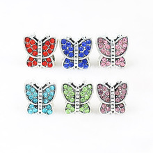 Full Crystal Butterfly Big Hole Alloy Bead European Charm DIY jewelry accessories Bead Fit dora Bracelets & Bangles H314(China)