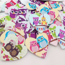 100Pcs 35 mm Wood Heart Buttons With Owl DIY Craft Scrapbook Sewing Appliques WB53