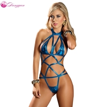 Buy goorselent Sexy Bandage Chest lingerie Faux Leather erotic underwear Latex pole dance erotic costume halter neck sex catsuit