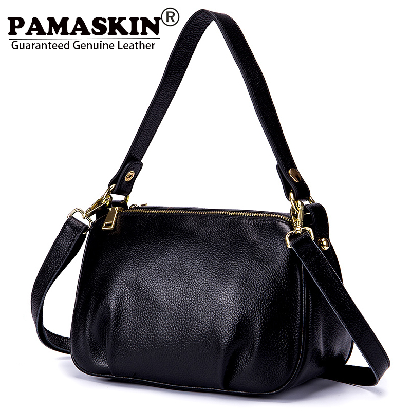 PAMASKIN 2018 New Arrivals Women Shoulder Bags Crossbody Bag Real Leather Cowhide Female Messenger Bags Handbags Large Capacity<br>