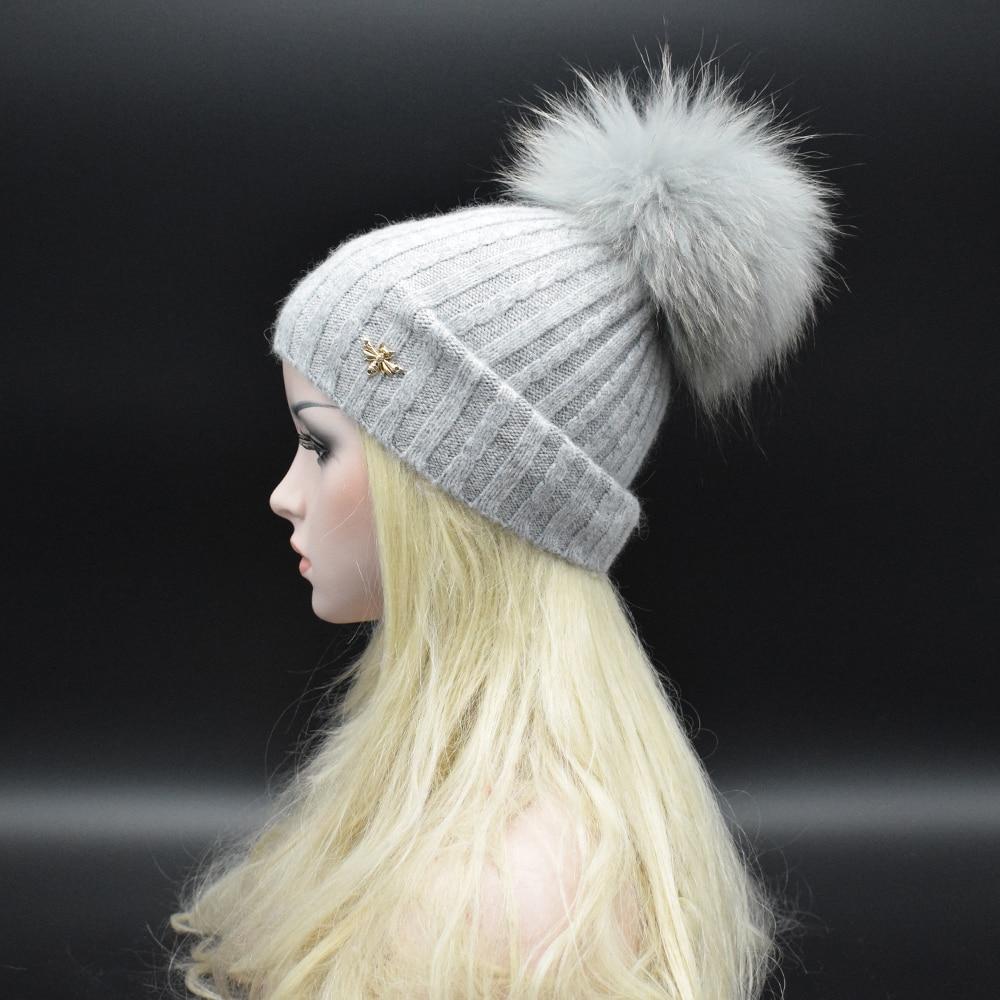 2017 Winter newest high quality Soft wool rabbit fur knitted hat Skullies winter hat Raccoon Fur Pom Pom Hat Women Beanies Hat  Одежда и ак�е��уары<br><br><br>Aliexpress