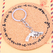 Car Key Ring Pendant Silver Color Metal Key Chains Accessory Wholesale Free Shipping,Vintage pistol revolver gun Keychain