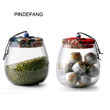 PINDEFANG New Retro Style Clear Glass Tea Can W/ Cloth Covered Cork Lid Kitchen Food Storage Nuts Jar Goods Puerh tea Cannister