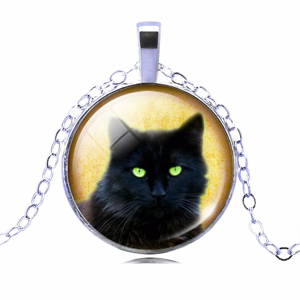 UNIQUE NECKLACE GLASS CABOCHON-SILVER BRONZE CHAIN NECKLACE BLACK CAT PICTURE VINTAGE PENDANT NECKLACE-Cat Jewelry-Free Shipping UNIQUE NECKLACE GLASS CABOCHON-SILVER BRONZE CHAIN NECKLACE BLACK CAT PICTURE VINTAGE PENDANT NECKLACE-Cat Jewelry-Free Shipping HTB1I
