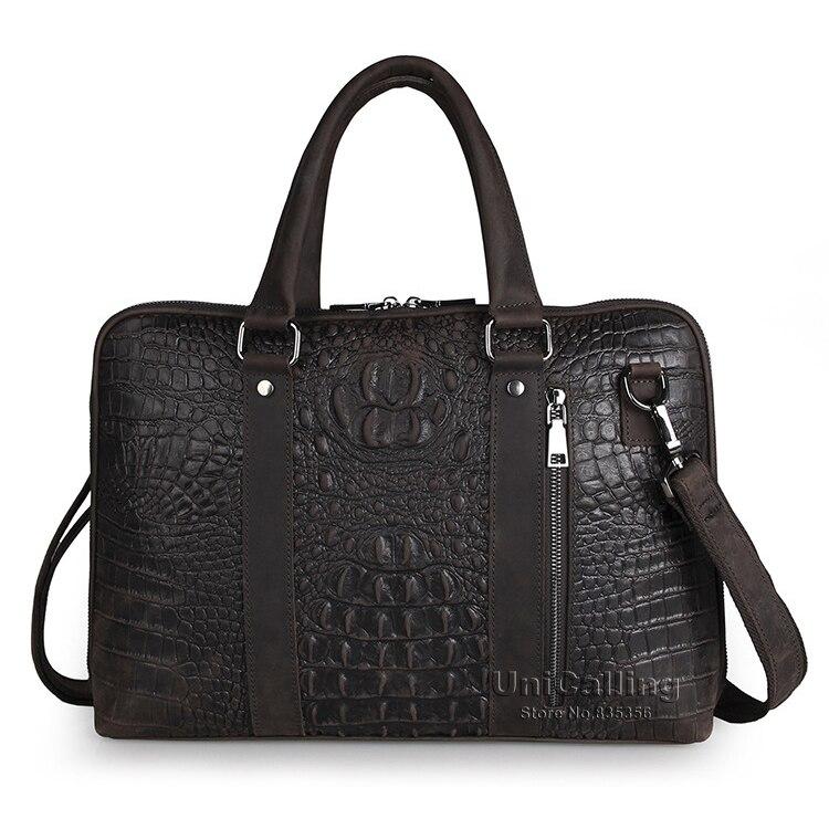 UniCalling fashion vintage crocodile genuine leather men bag mens leather briefcase business leather 15 laptop messenger bag<br><br>Aliexpress