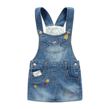 Girls Jeans Skirt Girl Denim Skirt Cute Hello Kitty Girls Denims Suspender Overalls Girl 3-8Years Casual Big Kids jupe Fille(China)