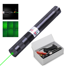 007 Powerful Green Laser Pointer Lasers Sight Adjustable Focus Lazer Light with Sky star Cap for 18650 battery