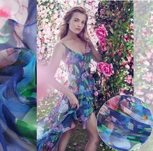 2017 summer pure dress fabric, exclusive design, digital printing and dyeing, silk fashion, DIY dress fabric