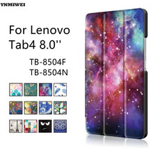 Leather Case For Lenovo Tab4 8 TB-8504F TB-8504N Ultra Thin Smart Tablet Case For Lenovo Tab 4 8.0'' Protective Case +protectors