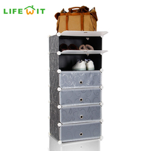 Lifewit DIY Plastic 6-layers Shoe Rack Storage Shelf Multi-use Shoes Cabinet Closet Organizer with Doors Black