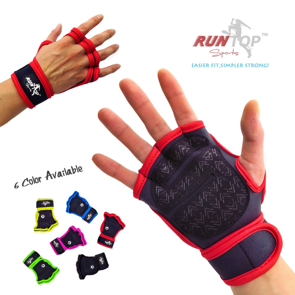 Runtop Weight Lifting Gloves Crossfit Training Wods Hand Grips Pads Wrist Wrap Supports Wristband Workout Fitness Gym Silicon In From Sports
