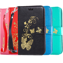 Luxury Gilding Butterfly Wallet Flip Phone Case sFor HTC One M8 M 8 M9 M 9 Cover Phone Coque PU Leather Saddle Stand Case