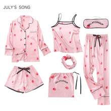 3549d1c1d7 JULY S SONG Women s 7 Pieces Pink Pajamas Sets Satin Silk Strawberry Pajamas  For Women Sleepwear Sets
