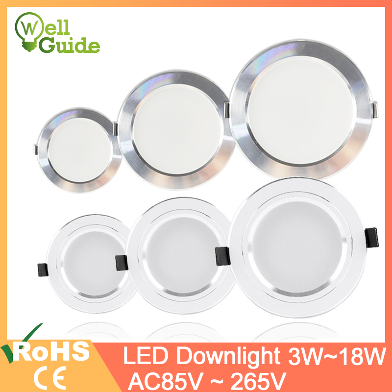 LED Downlight led spot 3W 5W 9W 15W 18W Silver White Ultra Thin Downlight AC110V 220V Led Bulb Bedroom Indoor LED Spot Lighting(China)