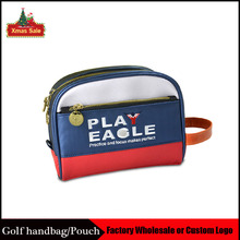 PLAYEAGLE Blue Multifunction Leather Golf Pouch Mini Waterproof Golf Handbag Golf Cart Bag Accessories with Free OEM Logo(China)