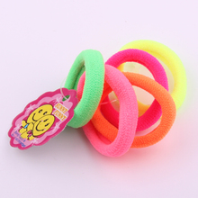 50pcs/lot 100% cotton soft hair bands fluorescence color hair rings Towel hair bands hair tie 5colors mixed(China)